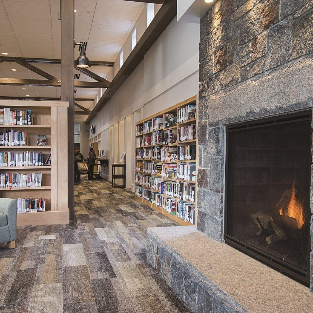 manchester community library fireplace