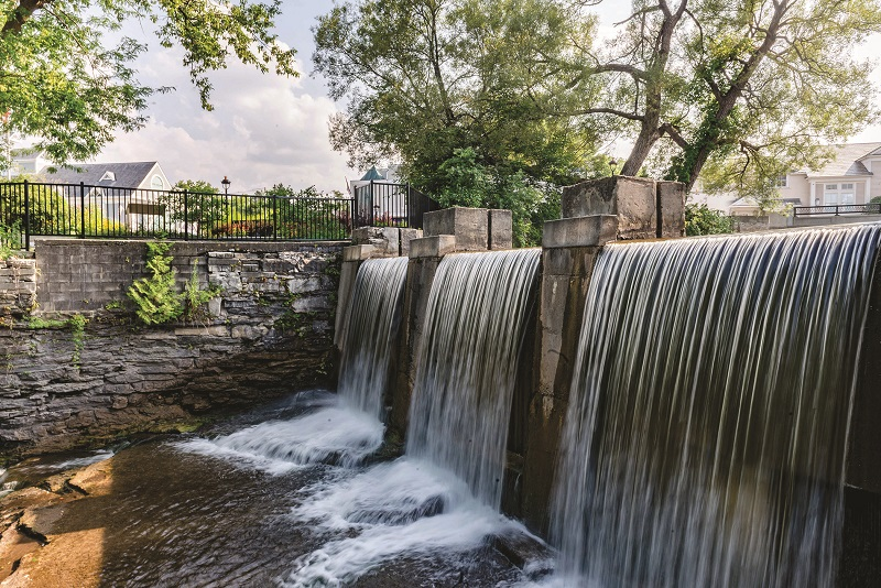 Riverwalk waterfall